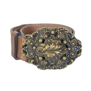 CABI Leather Belt Repousse Metal Buckle Boho Sz M